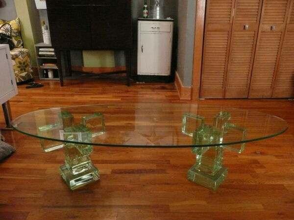 Mid Century Modern Italian Architectural Glass Block Coffee and End Table Set