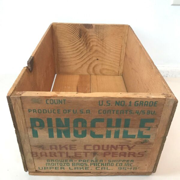 Vintage Pinochle California Bartlett Pears Produce Wood Box Advertising Crate