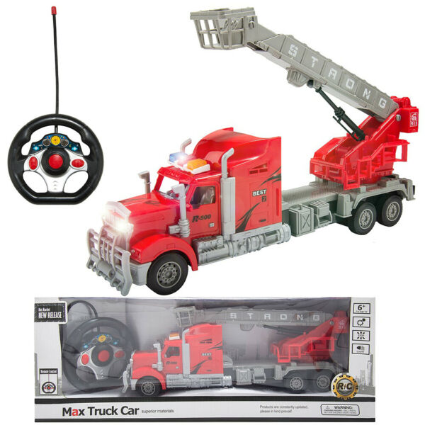 Remote Control RC Semi Trailer Truck W/Helicopter Music Light Kids Toy Xmas Gift