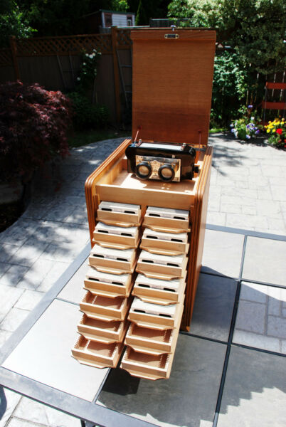 RARE SET: VERASCOPE F40 Vintage Stereoscope 300+ Stereoviews Wooden storage box