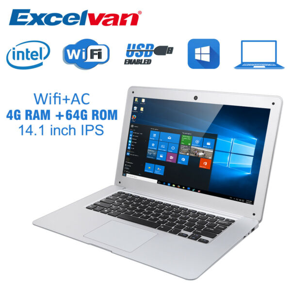 Excelvan D17 14.1 inch 1920*1200 Notebook Laptop Windows10 WIFI 4GB RAM 64GB ROM