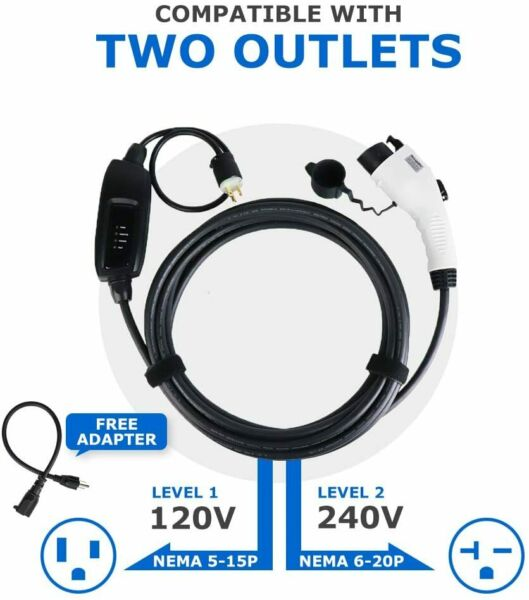 Electric Vehicle Charger EV Car Charging Cable Cord 240V 16A J1772 5-15 level 2