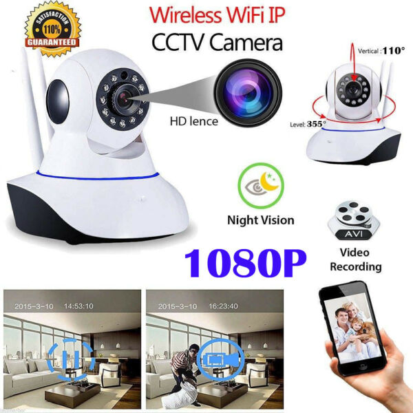 1080P Wireless WIFI IP Kamera Überwachungskamera Webcam Wlan Camera Nachtsicht