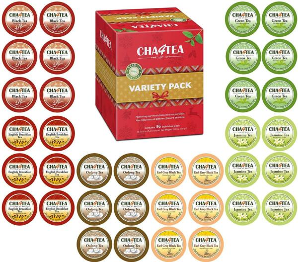 Cha4TEA 36-Count K Cups Variety Tea Sampler Pack for Keurig K-Cup Brewers...