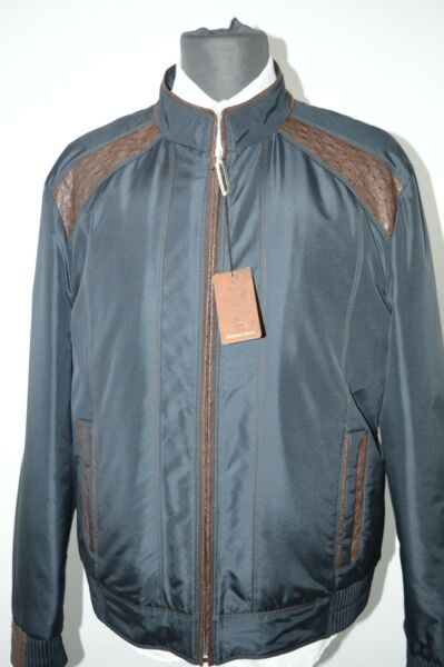 NEW 1585000 $ STEFANO RICCI Outwear Over Coat Leather Ostrich Us M Eu 50 (G57)