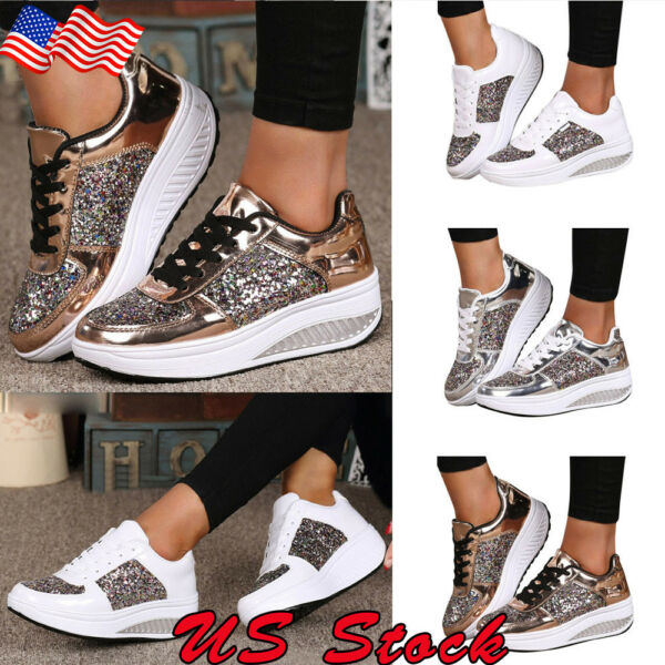 Women's Sequin Glitter Lace Up Fashion Shoes Running Athletic Sneakers Outdoor