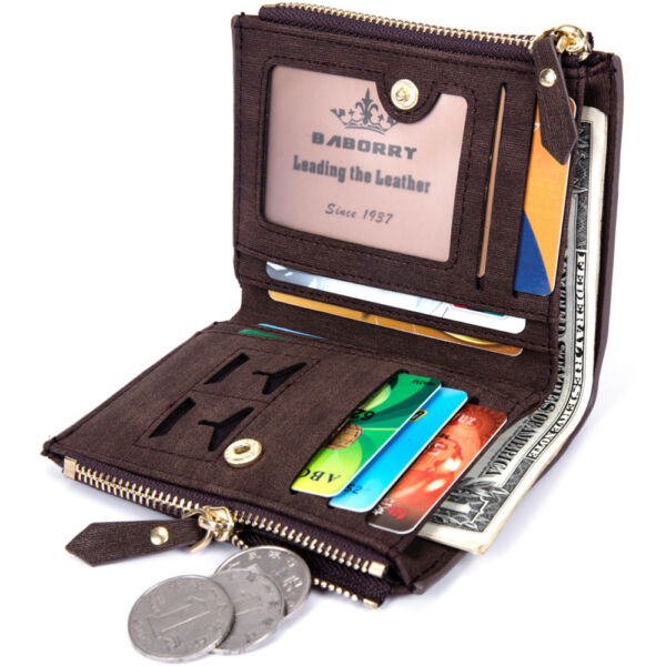 Mens Leather Short Wallet Bank Card Safe Frequency Identification RFID Block