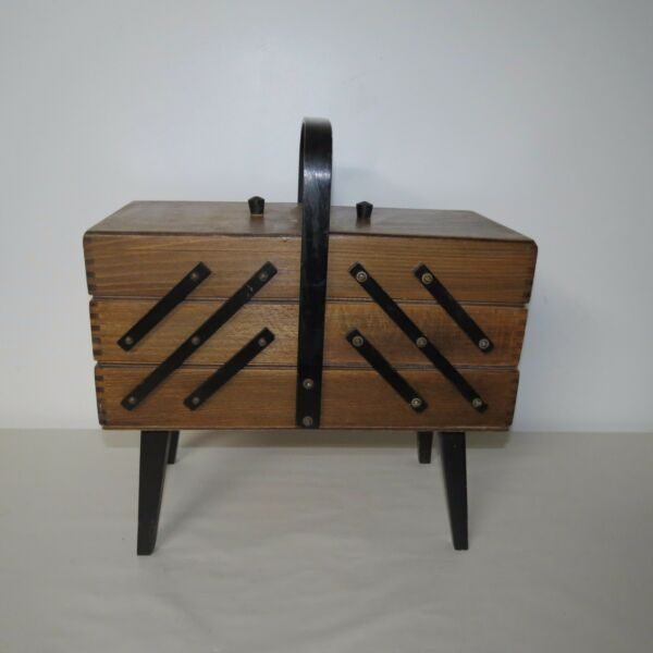 VINTAGE 3 TIER WOOD FOLD OUT ACCORDIAN SEWING BOX DOVETAIL CORNERS
