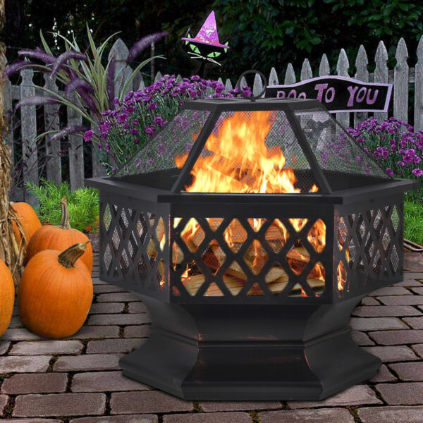 Wood Burning Fire Pit Fireplace Table Outdoor Heater Backyard Patio Deck Stove