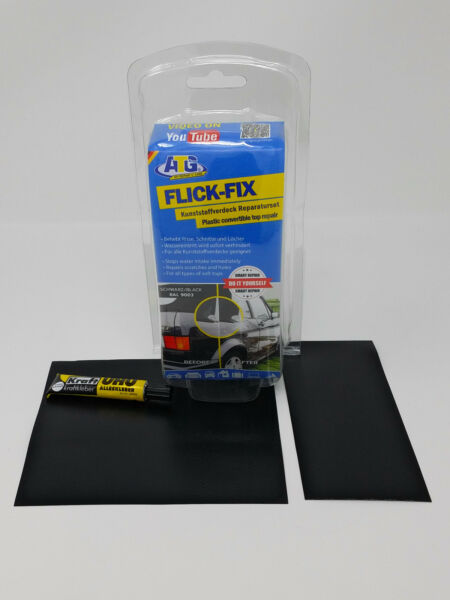 Black Convertible Top Repair Kit, Patch, Glue - For Cabrio Plastic Roof, ATG