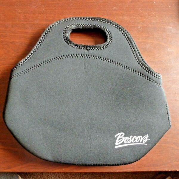 New Boscov's Neoprene Lunch Bag Tote With Handles Black Zippered