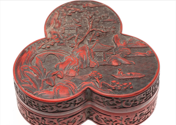 Cinnebar lacquer box and cover MING Dynasty