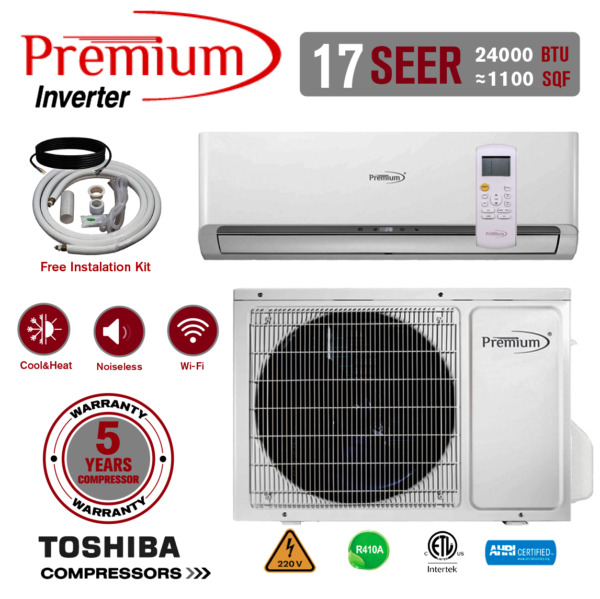 24000 BTU Air Conditioner Mini Split 17 SEER INVERTER AC Ductless Heat Pump 220V $1019.99