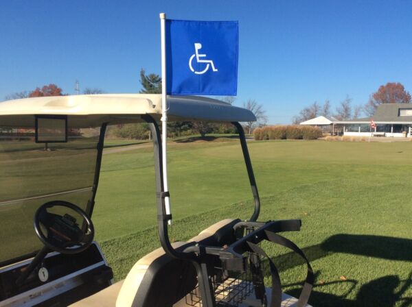 Handicap Golf Cart Flag on a Super Flex Pliable Pole