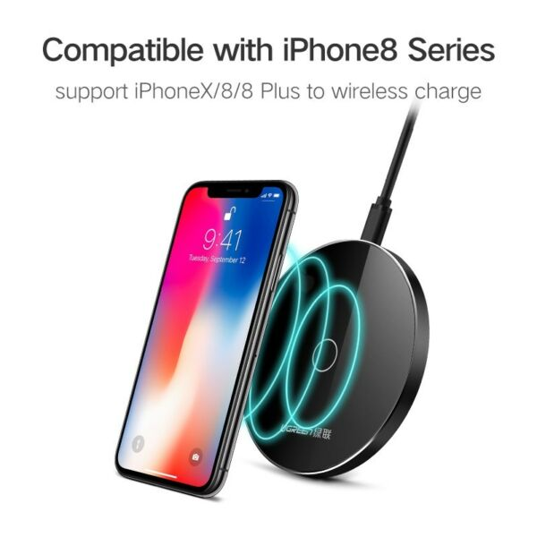 Ugreen Qi Wireless Charger for iPhone 8X 8 Plus 10W Fast Wireless Charging Pad