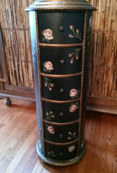 large wooden vintage estate jewelry stand box holder hand painted roses