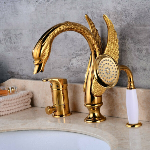 Bathroom Creative 3PCS Gold Swan Style Basin Mixer Taps Deck Bathtub Faucet
