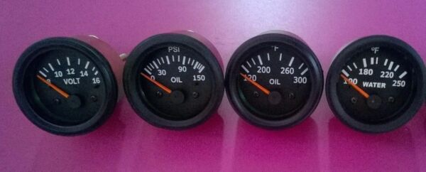 Gauges Set ( 4 pc) - Oil Pressure Temperature Oil Temp Volt Gauge 2