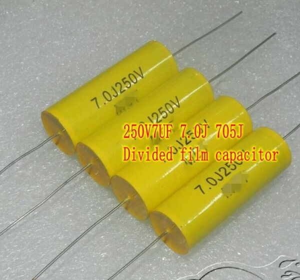 250V7UF Axial Film capacitor Frequency division HiFi Capacitors Horizontal