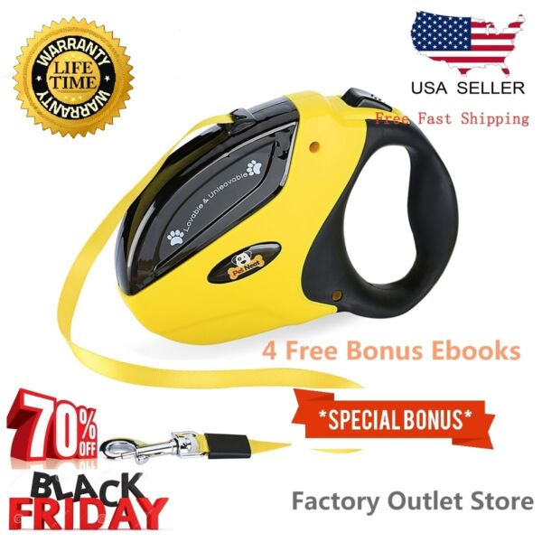 Dog Leash Retractable Walking Collar For Small Pet with Lock Nylon 10 Ft $8.97