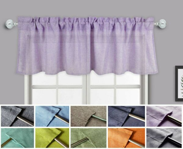 Aiking Home Faux Linen Semi Sheer Window Valance Size 56#x27;#x27; x 16#x27;#x27; 1 Pack