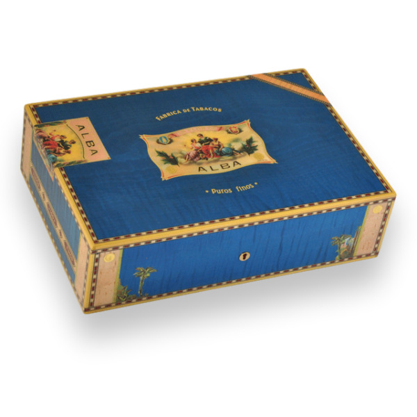 Cigar Humidor Elie Bleu Blue Sycamore Holds 110 Cigars Alba Collection