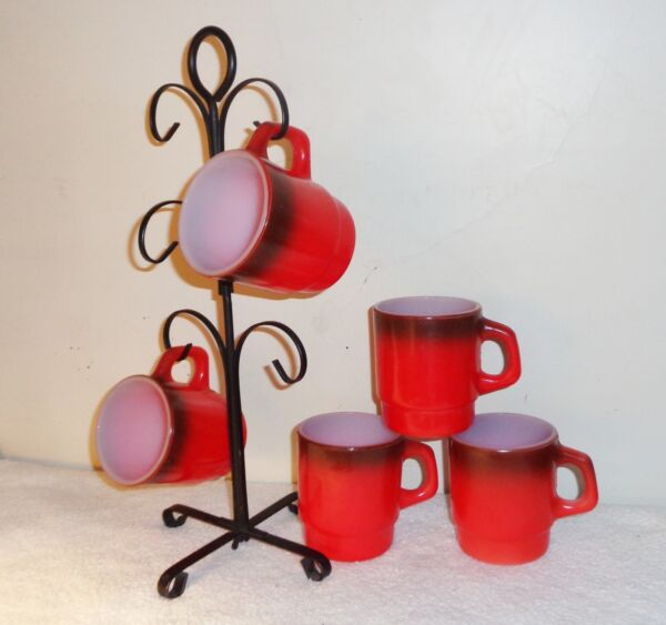 5 Vintage Fire King Red Brown Fade Stacking Coffee Mugs on Metal Tree