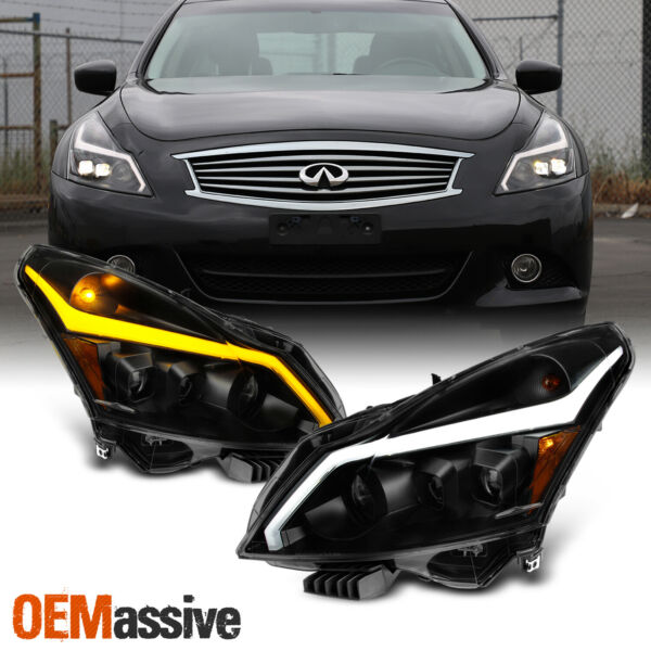 [Black Smoked]Fits 10-13 G37G25Q40 Sedan Sequential LED Projector Headlight