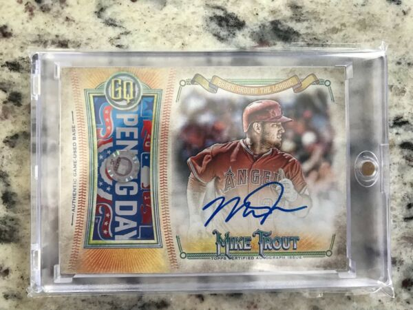 2018 Topps Gypsy Queen MIKE TROUT Bases Around The League Auto Relic RARE! 110