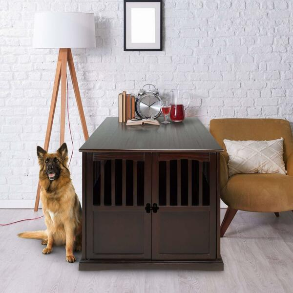 Extra Large Wooden Pet Dog Cat Crate Kennel End Table Cage Furniture House Lock