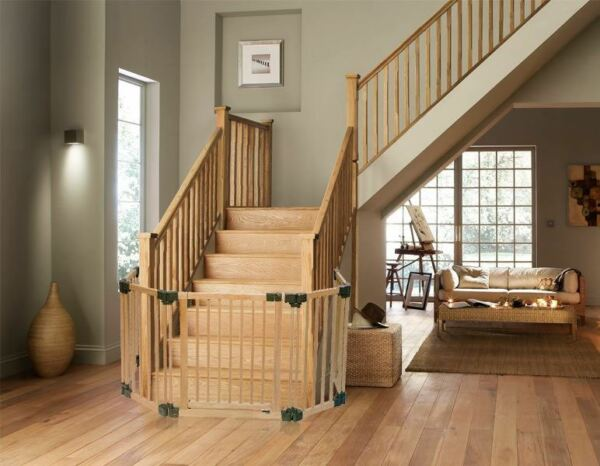 Open Plan Stair Case Custom Fit Gate Bottom of Stairs Gate Configure Panels