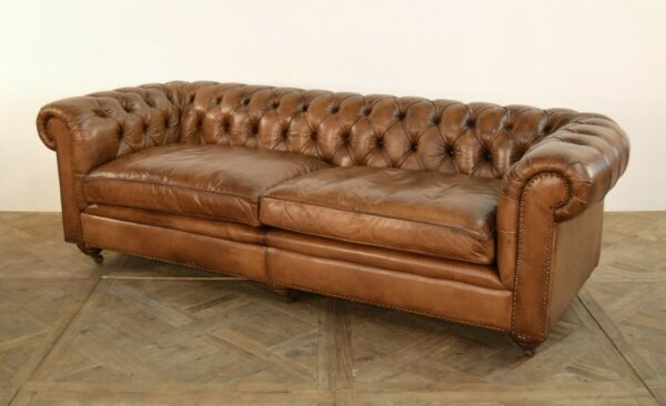 Antique Buffalo Top Grain Leather Button Tufted Sofa 110