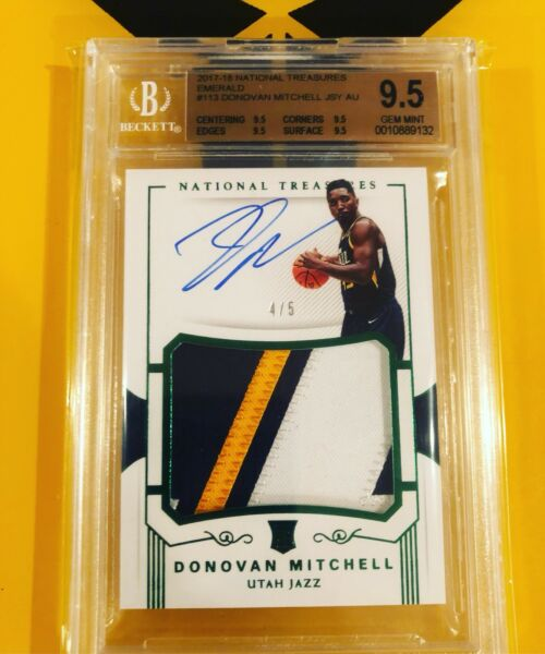 2017-18 National Treasures Donovan Mitchell Rookie Patch Auto Emerald 45