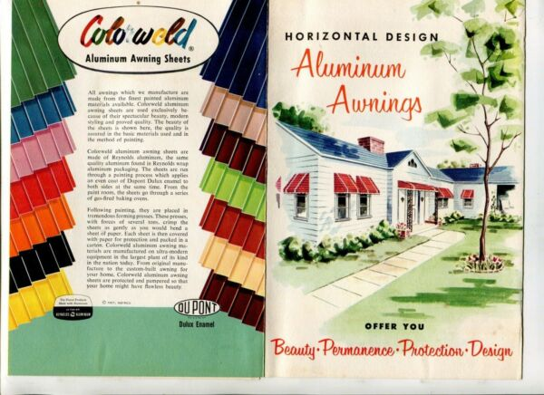 Vintage Advertising Brochure COLORWELD ALUMINUM AWNINGS 1957