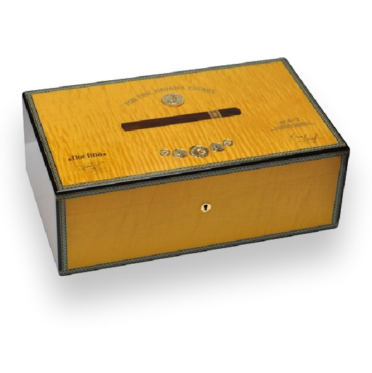 Cigar Humidor Elie Bleu Yellow Sycamore Holds up to 120 Medals Collection