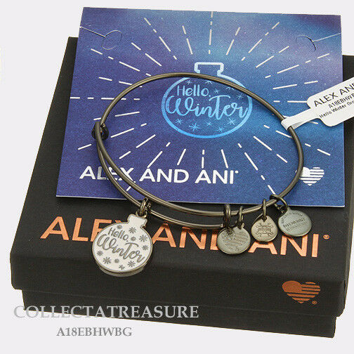 Authentic Alex and Ani Hello Winter Ornament Metallic Hazel Charm Bangle