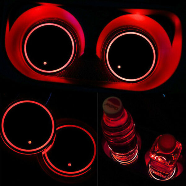 Auto Car Solar Cup Pad Car accessories Red LED Light Cover Interior Decoration