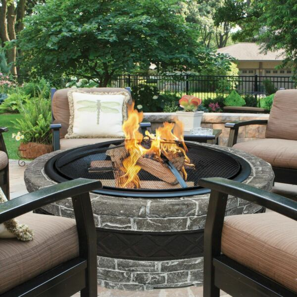 Outdoor Stone Fire Pit Patio Garden Fireplace Burner Bowl Wood Burning Heater