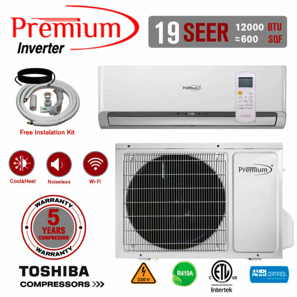 Premium 12000 BTU Mini Split Air Conditioner Inverter Heat Pump 19 SEER 220 V $589.99