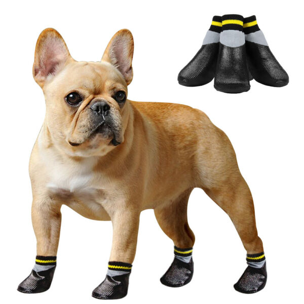 Dog Shoes Black Anti Slip Waterproof Snow Shoes for Dogs Rubber Pet Dog Boots $9.99