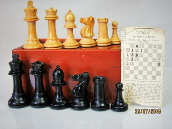 VINTAGE  WEIGHTED  STAUNTON CHESS SET B.C.C? K  79 mm  AND MAHOGANY BOX NO BOARD