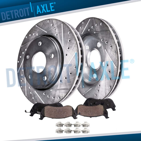 Front Drilled Brake Rotors + Ceramic Pads for 2009 - 2013 Corolla Matrix Vibe XD