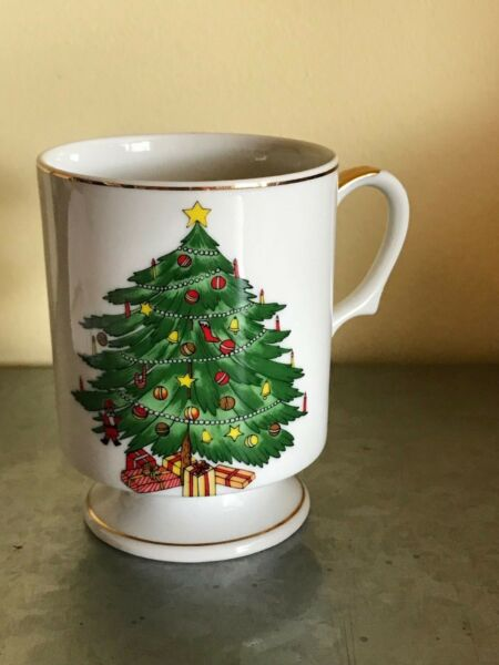 Vintage Set of 4 Norcrest Christmas Tree Holiday Coffee Cup Mug  XA-32 Rare!!