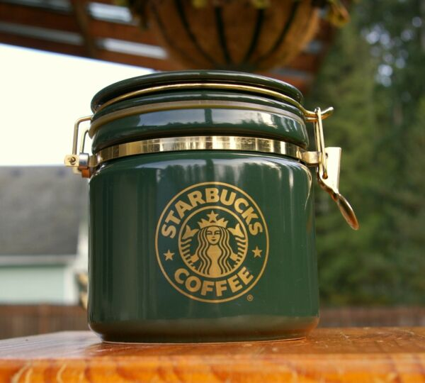 Starbucks Coffee Company Green Bee House Japan Canister Gold Siren Mermaid Logo