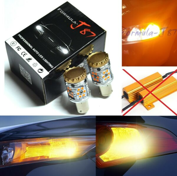 Canbus Error Free LED Light 1156 Amber Two Bulbs Front Turn Signal Upgrade Lamp
