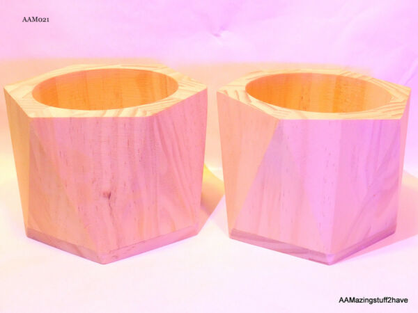 """Basketville Wood Box 3 ¼"""" x 4"""" Solid Wooden Boxes Qty 2 Round"""