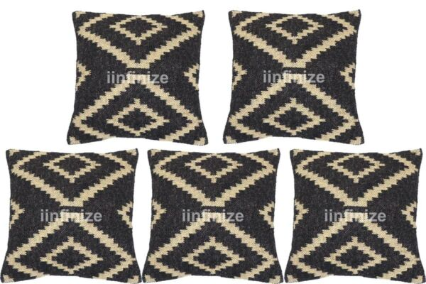 Wholesale 20 PC Lot Handwoven Black Pillow Case Wool Jute Cushion Cover Throw