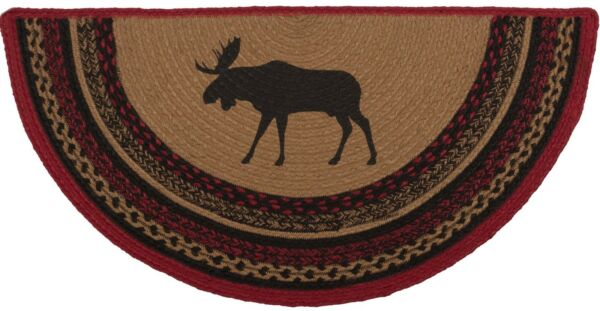 Braided Moose Hearth Rug Red Black Half-Circle Country Lodge Style Cumberland