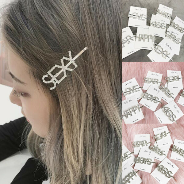 Girls Crystal Rhinestone Words Hairpin Hair Clip Barrette Bobby Hair Accessories