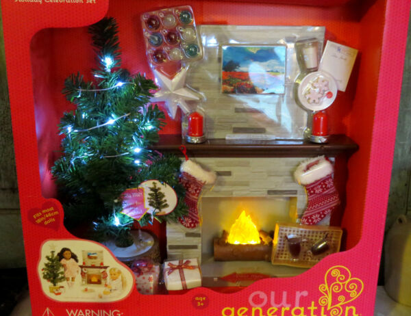 Our Generation Holiday Celebration Set Christmas Tree Fireplace 18quot; Girl Doll AG